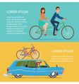 Summer travel by car and by bike Cartoon poster vector image