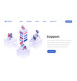 support center isometric landing page template vector image vector image