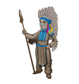the statuette of the leader of a tribe of indians vector image vector image