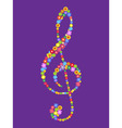 treble clef of flowers vector image vector image