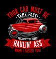trendy fanatic car t shirt quote and slogan your vector image vector image