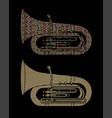 tuba instrument cartoon music graphic vector image vector image