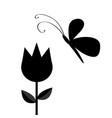 tulip flower with leaf and flying butterfly vector image