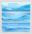 water splashes banners liquid flowing waters with vector image