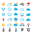 Weather forecast colorful icons set vector image vector image