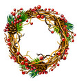 winter new year festive wreath branches and berr vector image