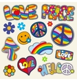 Vintage hippie patches set vector image