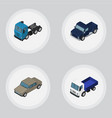 isometric car set of lorry auto truck and other vector image