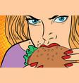 hungry woman eats burger vector image