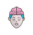 boy face with brain out side in the head vector image