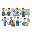 businessman and business icons set vector image vector image
