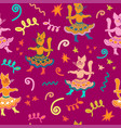 carnival seamless pattern with dancing funny vector image