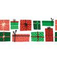 christmas gift boxes seamless border vector image