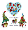 christmas set on a white background vector image vector image