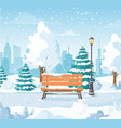 christmas snowy winter city park vector image