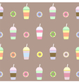 coffee cups and donuts seamless pattern vector image
