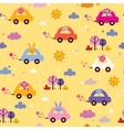 cute animals driving cars kids pattern 2 vector image vector image