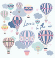 cute card pink and blue air balloons vector image