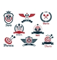 Darts heraldic sports emblems and symbols vector image