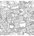 doodle seamless pattern about coffee tea time vector image
