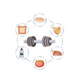 dumbbell sport fitness with set icons vector image vector image