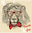 fashion background with stylish lion guy with bow vector image