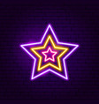 festive star neon label vector image vector image