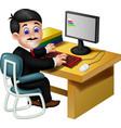 funny employee man working with computer cartoon vector image vector image