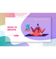 girl meditating sitting in lotus pose doing yoga vector image vector image