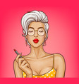 girl with sexy lips holds red lipstick vector image