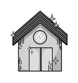 grayscale clean house with roof and door design vector image vector image