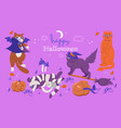 halloween card with cute cats graphics vector image