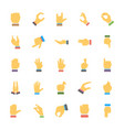 hand gestures flat icons set vector image