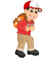 handsome backpacker cartoon in action vector image vector image