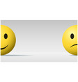 happy and sad face ball emoji background vector image vector image