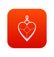 heart shaped pendant icon digital red vector image vector image