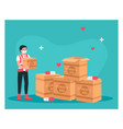 humanitarian aid make donation to help each other vector image vector image