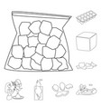 isolated object of clean and wet symbol set of vector image vector image