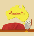 koala climbing tree with australia map for vector image