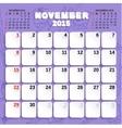 November Month Calendar 2015 vector image vector image