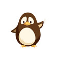 penguin waving left wing and sending greetings vector image vector image