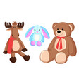 reindeer bunny christmas toys vector image vector image
