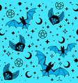 seamless pattern bats and stars vector image vector image