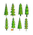 set christmas trees pines icons in flat style vector image vector image