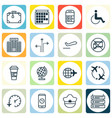 set of 16 travel icons includes departure vector image vector image