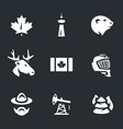 set of canada symbols icons vector image