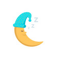 sleeping moon in nightcap isolated on white vector image