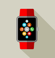 Smart watch in 2d style with app icon vector image