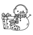 snowman gift box sock celebration merry christmas vector image vector image