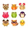 Sweet Baby Animals In Girly Design vector image vector image
